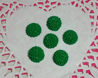Sale!Approx.14mm Beautiful Shimmering Kelly Green Chrysanthemum Flower Embellishment - Polymer Clay, flatback - 6 pieces