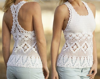Crocheted top, tank top, ALL COLORS AVAILABLE, summer top, cotton top, 100% hand made.