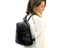 Sale!!! Black leather backpack bag - Black Leather bag women backpack leather