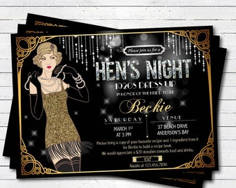great gatsby hens night invitation 20s flapper black and gold glitter bachelorette party - Great Gatsby Party Invitations