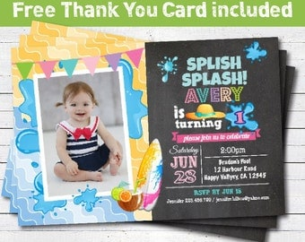 Pool party birthday invitation. Girl 1st first birthday chalkboard invitation. Kids summer birthday party photo card invitation. KB027