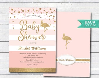 Pink and gold baby shower invitation. Flamingo baby shower invitation. Pink white stripes, gold glitter, baby shower printable invite. B102