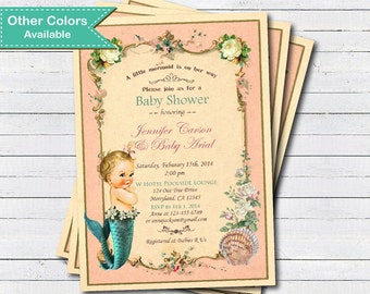 Mermaid baby girl shower invitation. Vintage pink and turquoise teal little mermaid summer baby girl shower printable digital invite. B101