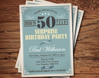 Surprise 50th birthday invitation for man, guy. any age. Vintage blue 30th 40th 50th 60th 80th 90th birthday printable digital invite. AB115