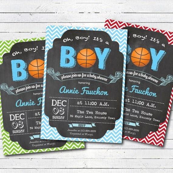 basketball baby shower invitation chalkboard all star sport baby boy