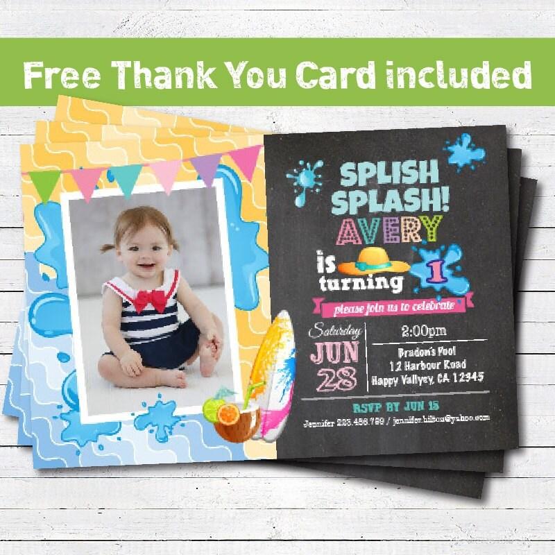 First Birthday Party Invitation Boy Chalkboard: Pool Party Birthday Invitation. Girl 1st First Birthday