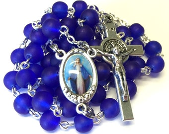 Our Lady of Grace Catholic Handmade Rosary in Royal Blue Frosted Glass Beads