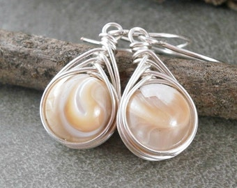 Sterling Silver Mother of Pearl Earrings Wire Wrapped Jewelry Handmade Herringbone Wrap Handcrafted Jewelry Unique Bridal Earrings Pearls