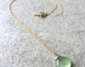 Green Chalcedony Wire Wrapped Necklace