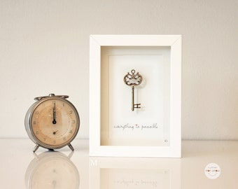 best friend Gift - graduation gift- Gift Love Wedding - sister Gift - new job Gift  - Picture key antique bronze - framed under glass