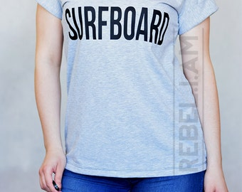 SURFBOARD t shirt t-shirt tee with v neck and sleeve tabs, unique, long
