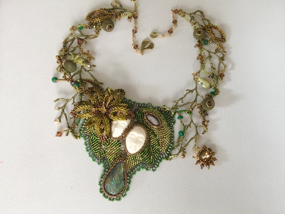 Bead embroidery ooak necklace nature seed