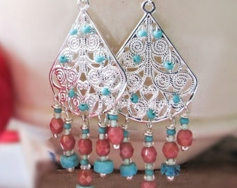 Turquoise and coral chandelier earrings Turquoise earrings Coral wedding earrings Coral bridesmaid jewelry Boho chandelier earrings Fashion