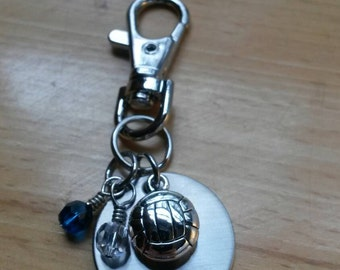 Hand Stamped Personalized Volleyball keychain - Girls Volleyball - Volleyball Team Gifts - Team Colors -