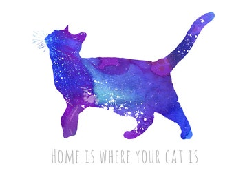 """Inspirational Print """"Home is where your cat is"""", inspirational Quote"""", Inspirational Art, Typography Print, Wall Art 8,5"""" x 11"""""""