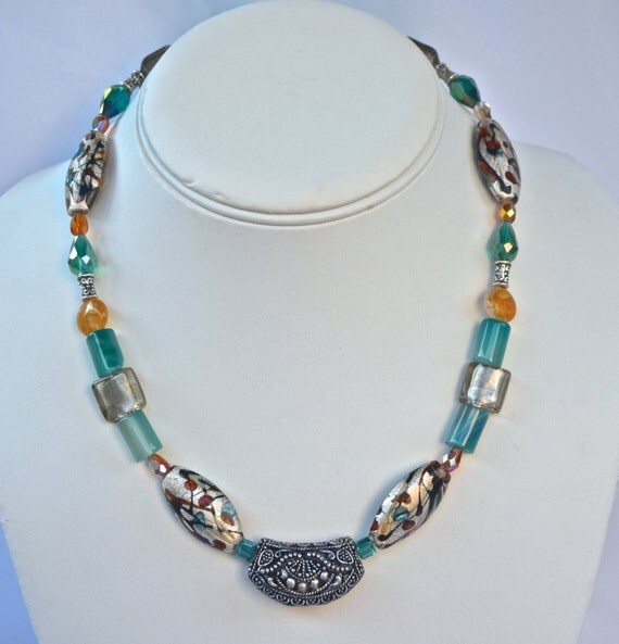 "16"" Teal and Sliver Necklace"