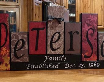 Family Block Name Letters home decor unique custom gift