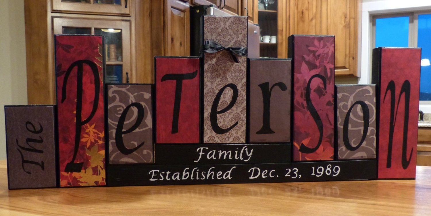 family block name letters home decor unique custom  t