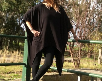 Trendy Black Asymmetric Loose Oversize Kaftan/Tunic/Top Style:3028