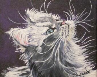 """Grey Kitten , Acrylic Kitten portrait , Oringinal painting , 8"""" x 8"""" Canvas"""