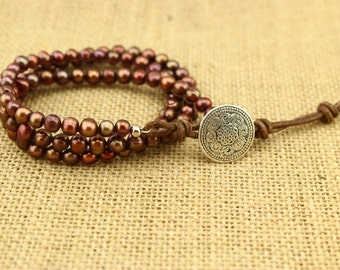 ETS-B200 Handmade freshwater pearl beaded bracelet, freshwater pearl bracelet, cord bracelet, wrap bracelet, freshwater pearl necklace