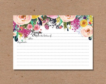 SALE 30 RECIPE CARD cards Wedding Kitchen Shower Gift Couples 4x6 Bride To Be Floral