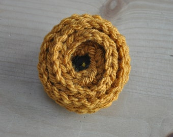 Mustard Yellow crochet flower brooch