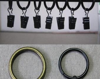 12+2 Bonus Metal Drapery Clip Rings in Black, Satin Nickel, Antique Bronze Colors. Metal Curtain Clip Rings - Drapery Ring With Clip