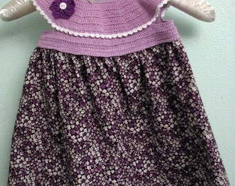 Hand Crocheted Purple and Black Floral Daisy-Trimmed Dress   Crochet Dress Bodice   Baby Dress   Cotton Dress - Size 6 Months