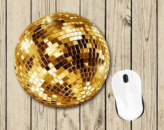 Gold Disco Ball Mousepad - Cute Mousepad - Student Gift - Dorm Decor - Teacher Appreciation Gift - Gift for Teacher - Gift for Coworker