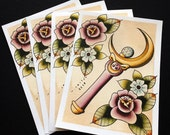 Sailor Moon Wand Tattoo Flash Print by Michelle Coffee