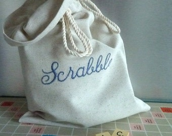 Scrabble bag. Machine embroidered, to order and carry the scrabble letters