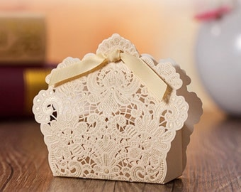 100 Ivory Embossed Hollow-out Paper Boxes - Packaging, Wedding Party Gift Boxes