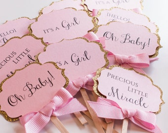 Pink and Gold Baby Shower Cupcake Toppers. Baby Girl Shower Party Decorations. Gold Glittered Party Picks 12CT