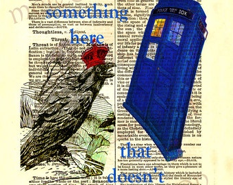 Instant download Dr Who quote Tardis dictionary print 8 x 10 inches printable home decor wall art crow crown England blue red digital print