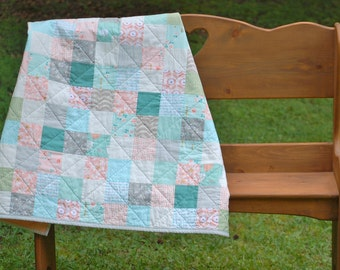 Shabby Chic Patchwork Baby Quilt for Girl in Gray, Mint, Aqua, Pink, Peach, and Gold with Littlest and Brambleberry Ridge Fabrics