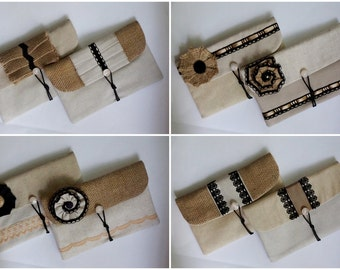 Ebony and Ivory - Set of 2 burlap/ hessian and black lace envelope clutch, sand beige linen bridesmaid clutch, southwestern rustic wedding