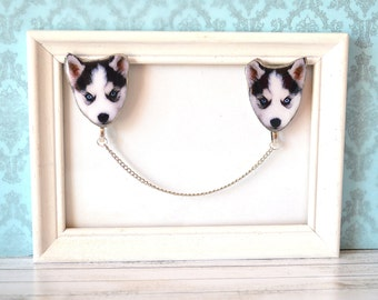 Husky , siberian husky , husky jewelry , siberian husky jewelry , husky gift , husky lover , husky brooch , snow dog , sled dog ,