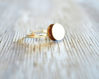 White ring , small white ring , dainty white ring , petite white ring , white wood ring , white adjustable ring  , white round ring , white