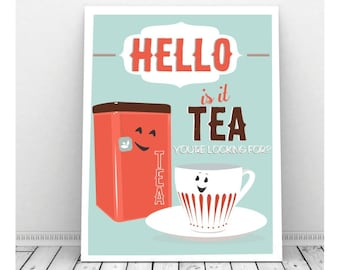 Funny Kitchen Art, Funny Wedding Sign, Instant Download, Tea Art, Quirky Art, Funny Pun Art, Food Pun, Tea Cup, Tea Lover Gift, Tea Sign