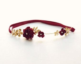 Burgundy and gold bridal garter, Wedding garter, Gold Garter, Deep red wedding garter, Marsala bridal accessory, Bridal shower gift, red