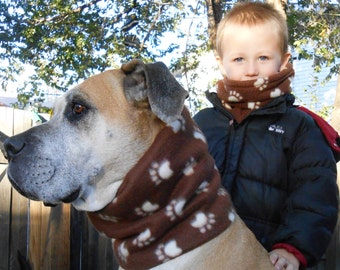 Large dog fleece neck warmer; Colorado snood or gaiter; Big dog scarves; Fleece muffler, tube scarf, cowl or neckwarmer