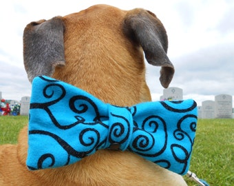 Big dog bow tie, blue bow, large blue bowtie w/ glitter, bow-tie snap on collar or harness w/ different patterns & colors