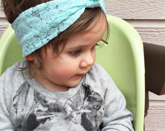 "Mint lace ""retro knot"" headband"