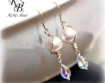 Bridal Earrings, Wedding Jewelry, Bridal Jewelry, Sterling Silver Earrings, Pearl Earrings, Crystal Earrings, Prom, Prom Jewelry