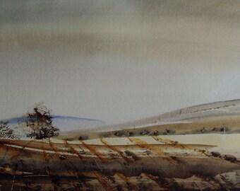 WORCESTERSHIRE FIELDS. Original Landscape Watercolour Painting.