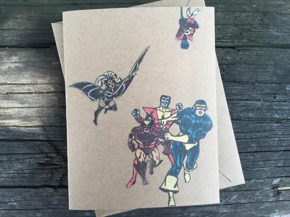 X Men Birthday Cards ~ Vintage marvel men greeting card blank featuring
