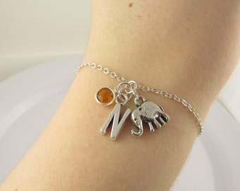 Elephant Bracelet- choose a birthstone and initial, Elephant Jewelry, Elephant Gift, Personalized Elephant, Elephant Birthstone, Elephant