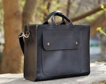 Womens bag, top handle bag, mens bag, womens bag, leather handbag, B003 Black