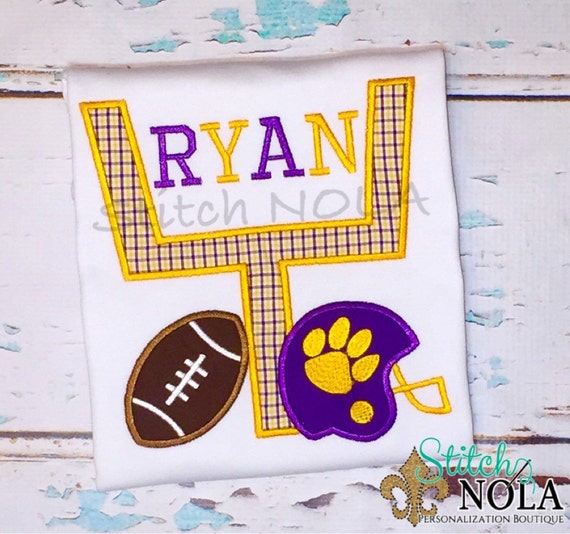 Purple and Gold Goal Post with Tiger Paw Helmet & Football T-Shirt or Bodysuit